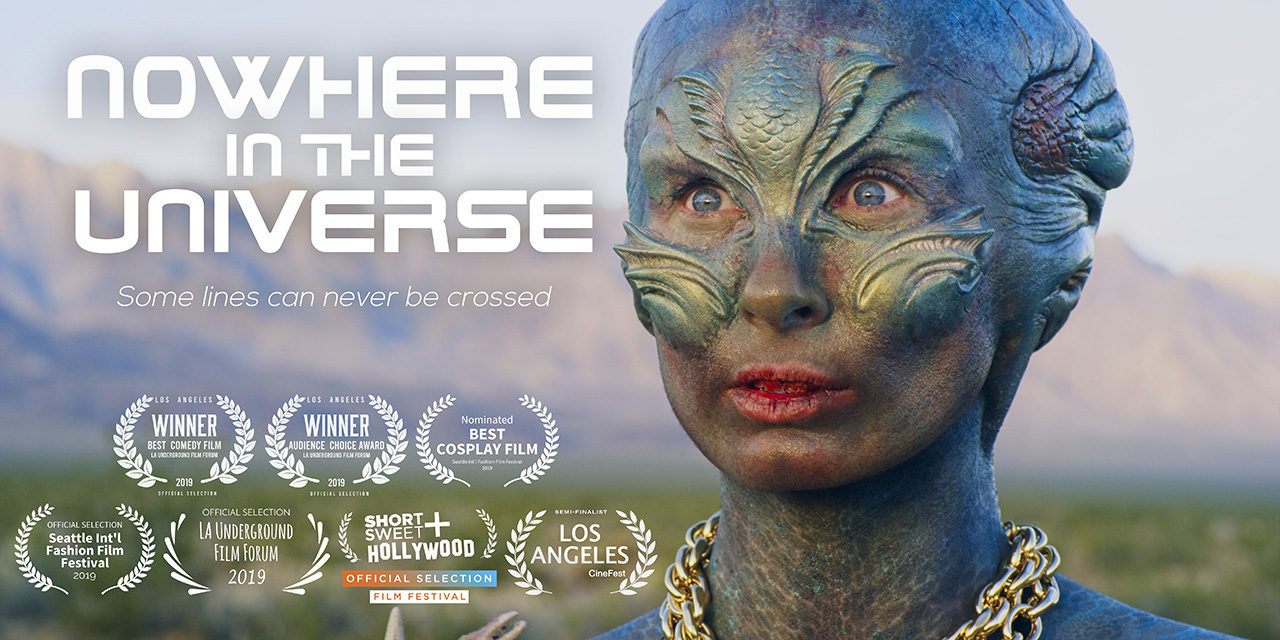 a lost hungry alien in the desert spots a man in the sci-fi