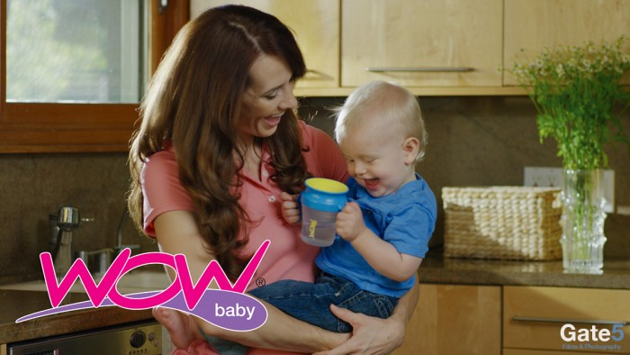 product video production with a mom and baby holding a sippy cup