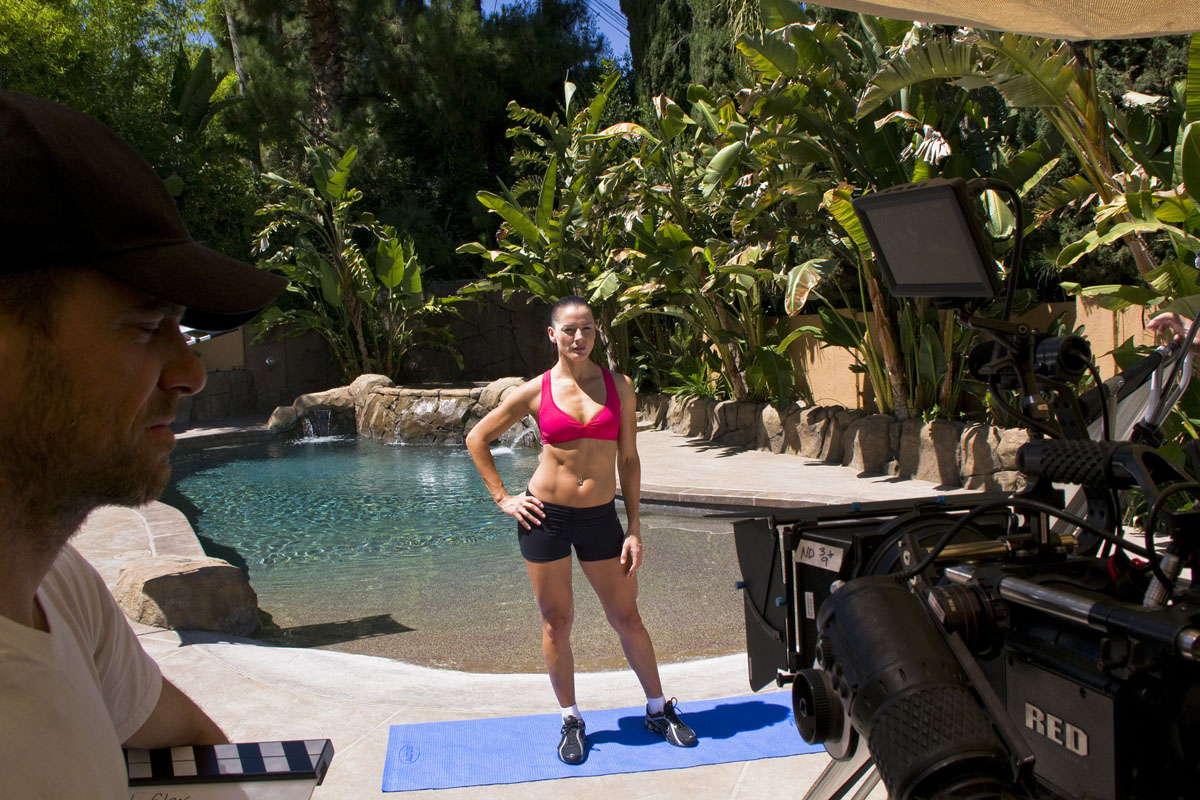fitness model in behind the scenes shot by video production company in Los Angeles Gate5