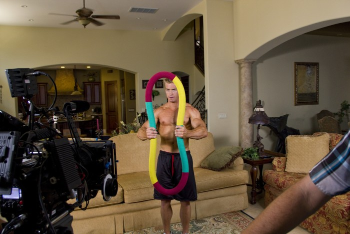 behind the scenes of a commercial for exercise equipment