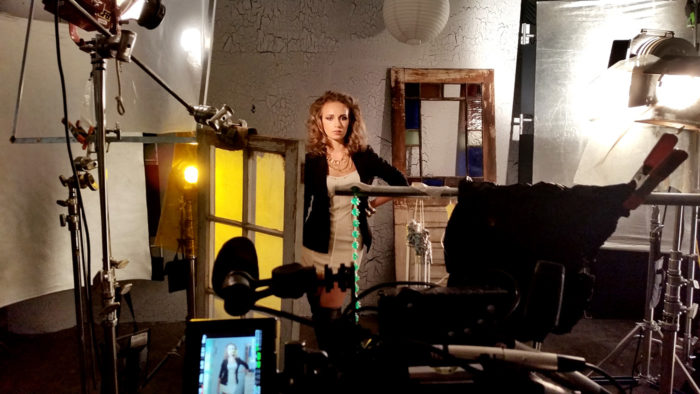 fashion model in behind the scenes shot for the film Dread