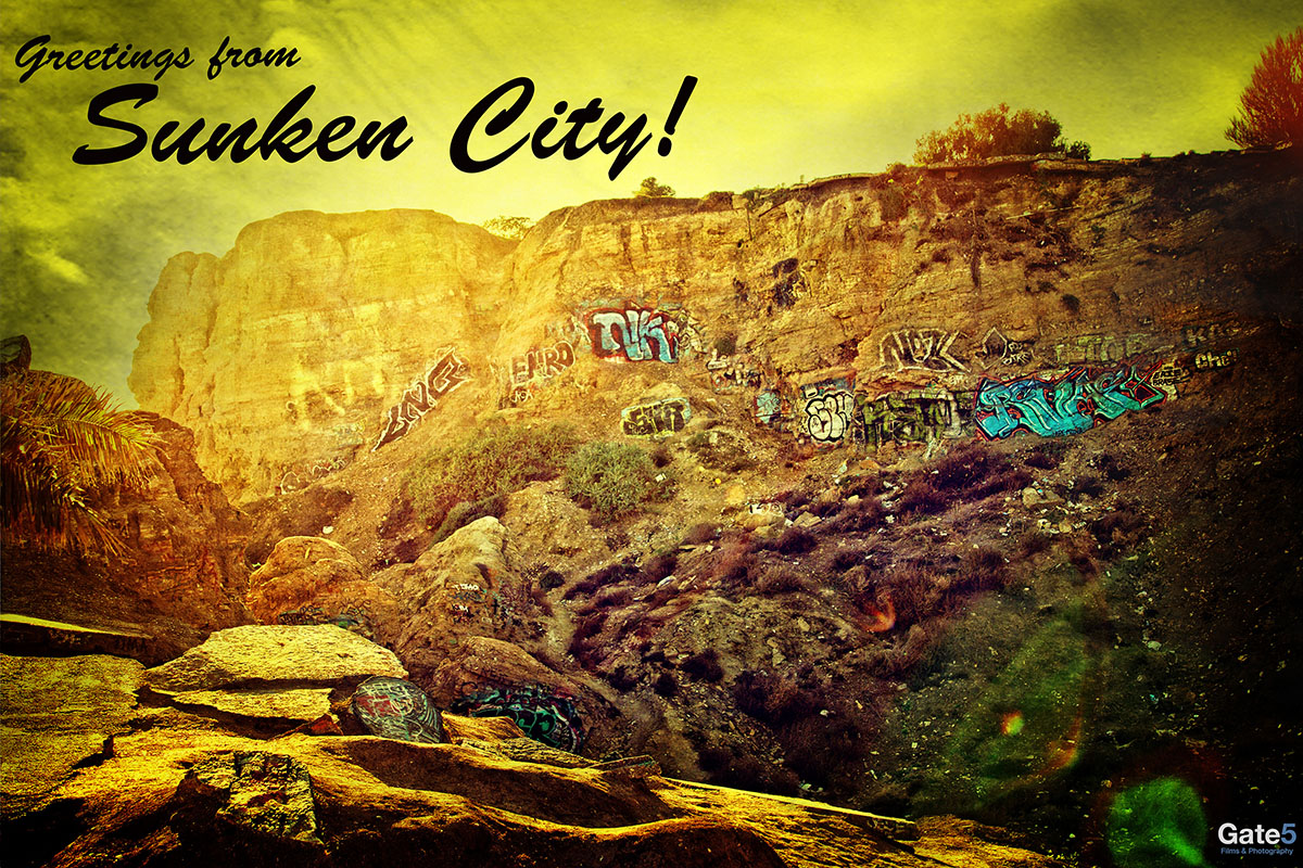vintage vacation postcard of sunken city