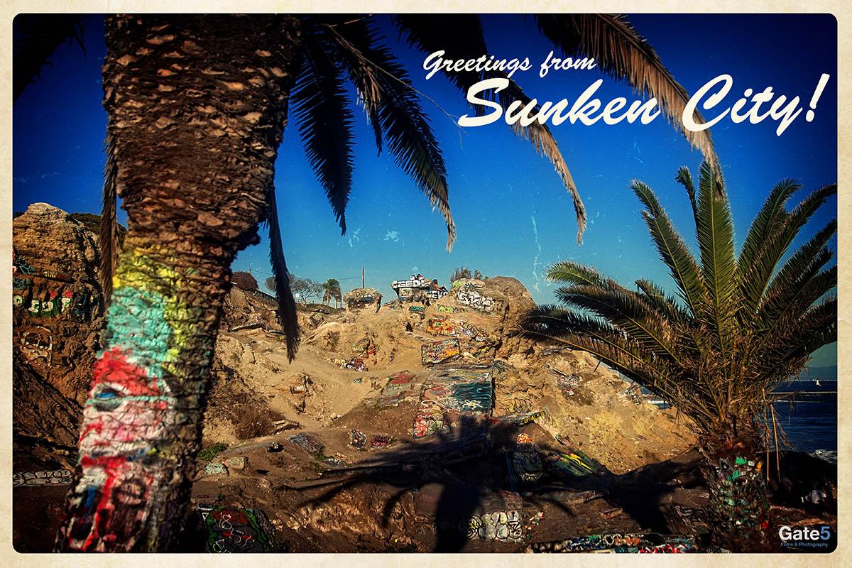 vintage postcard of sunken city