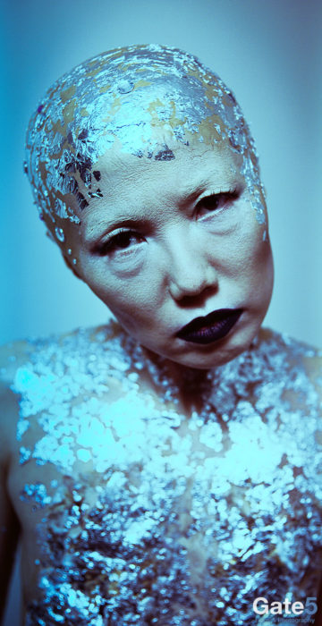 female model with martian makeup