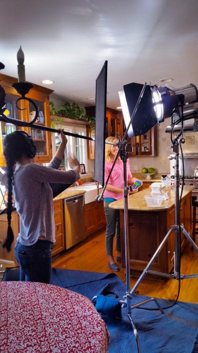 behind the scenes mom in kids snack dispenser promo video
