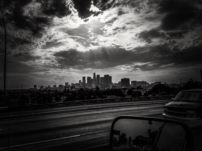 dramatic black and white of downtown los angeles