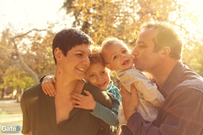 sunny lifestyle photo of happy family