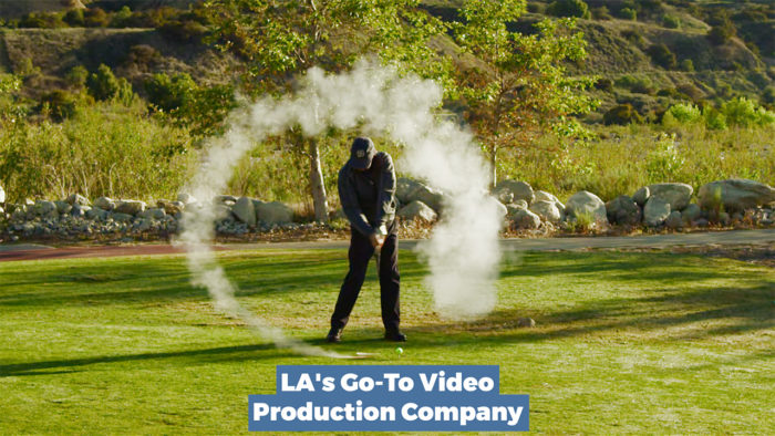 a rocket powered golf club from a promotional video production