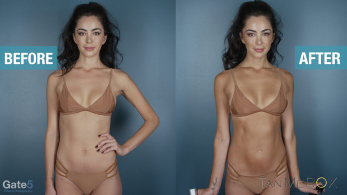 Sunless self tanning before and after shot on female model