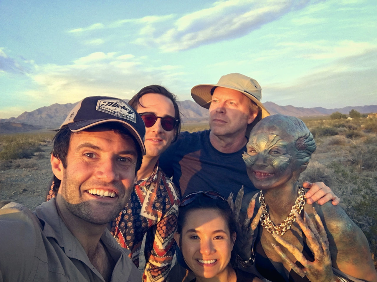 A behind the scenes photo of the film crew for the comedy, Nowhere in the Universe.