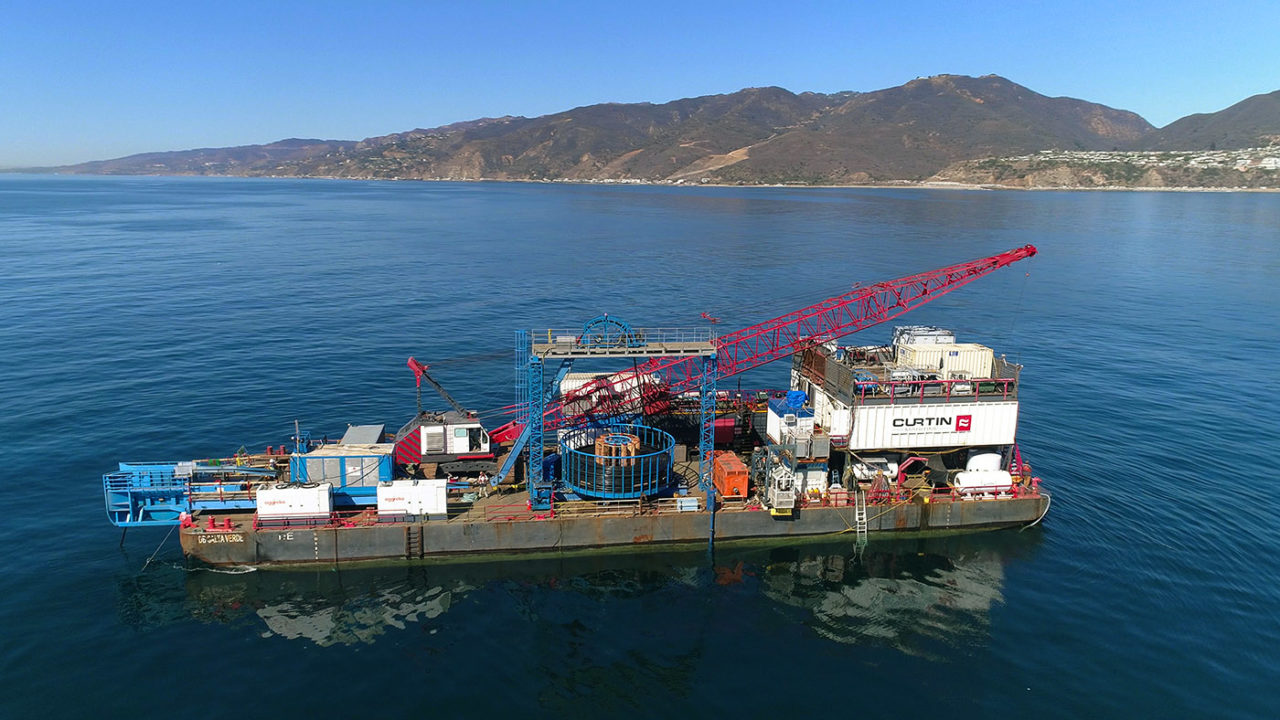 aerial drone shot of offshore barge for installation of electrical cabling for city of Los Angeles