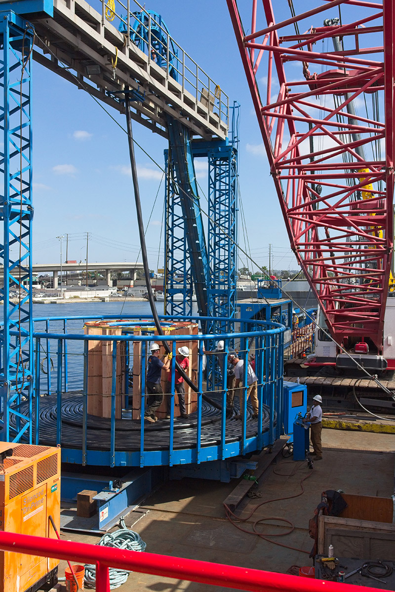construction site photo documentation on progress of offshore installation