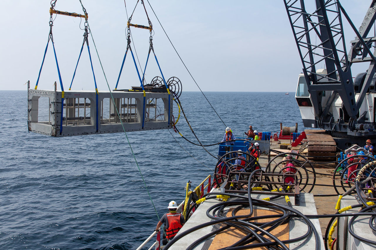 site installation documentary loading vault into Santa Monica Bay to upgrade electrical grid