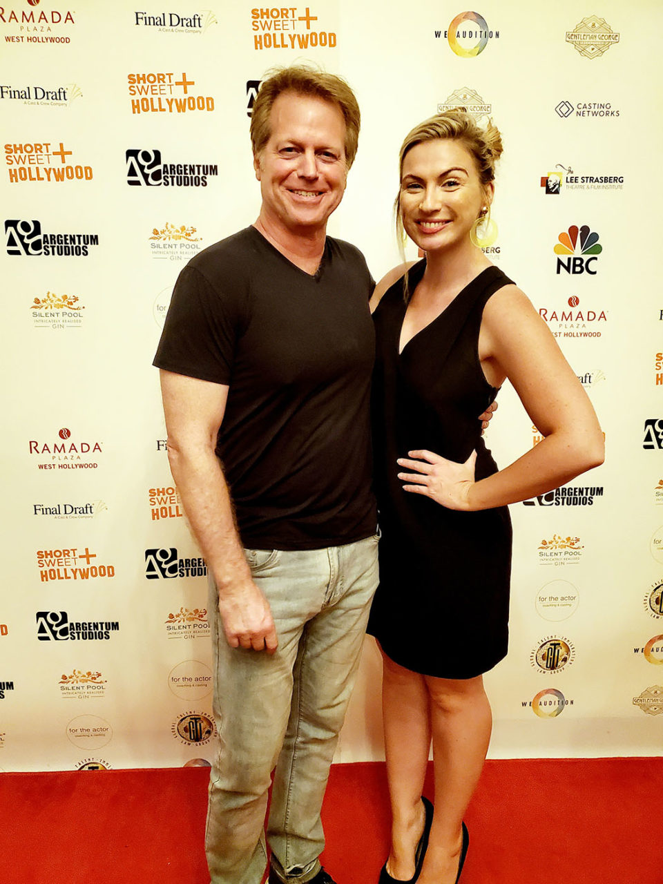 Director Greg McDonald with actress Kaitlyn Clare at the screening of their sci-fi comedy film, Nowhere In The Universe at the Short and Sweet Film Festival Hollywood.