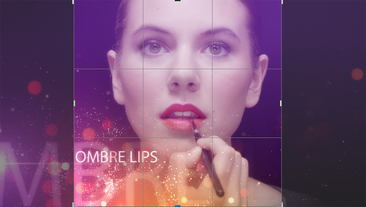 makeup beauty 16x9 frame with a square aspect ratio overlay