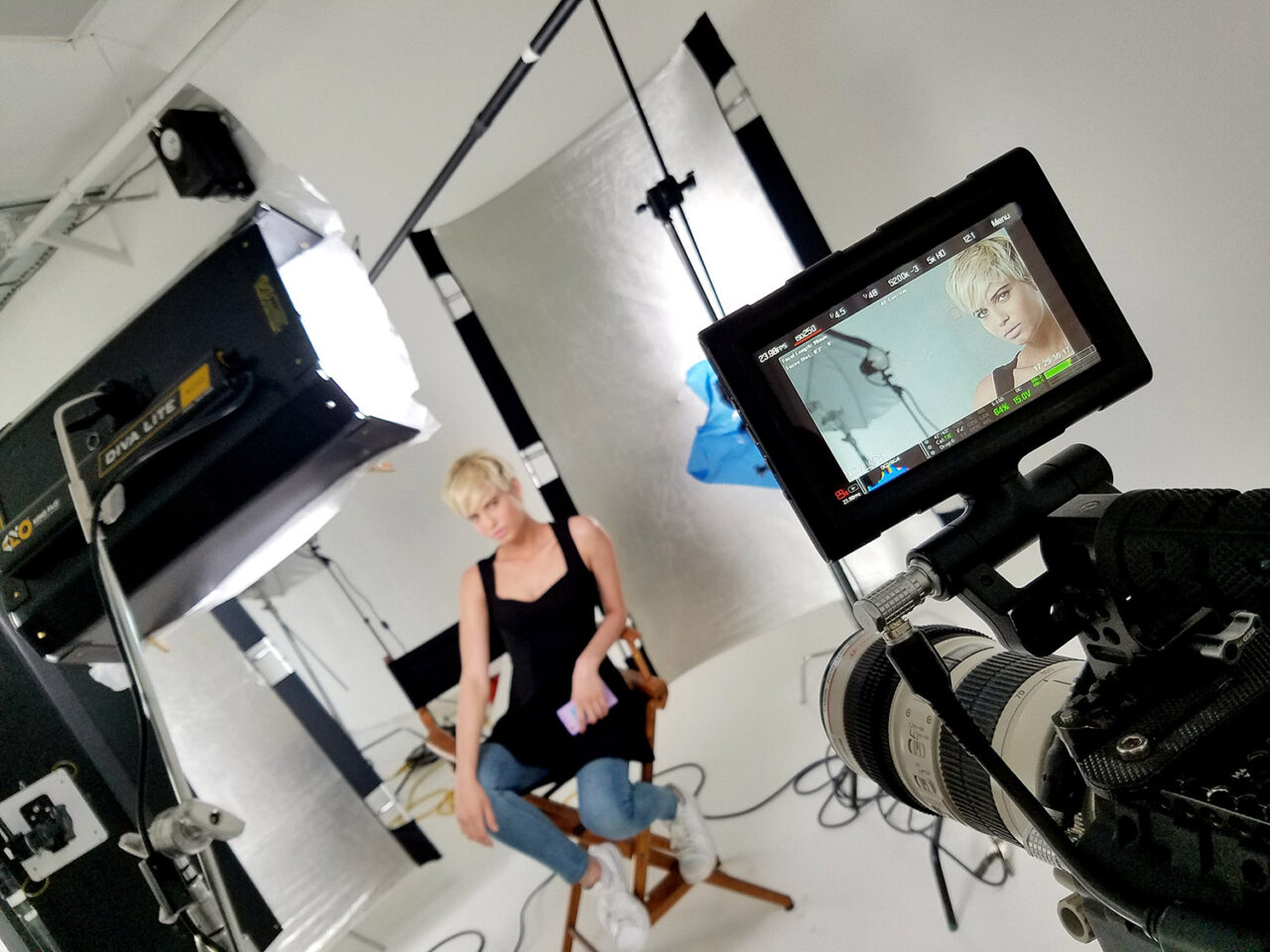 behind the scenes video production of a makeup beauty video tutorial shoot